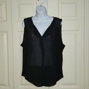 JON & ANNA SEMI SHEER SLEEVELESS TOP